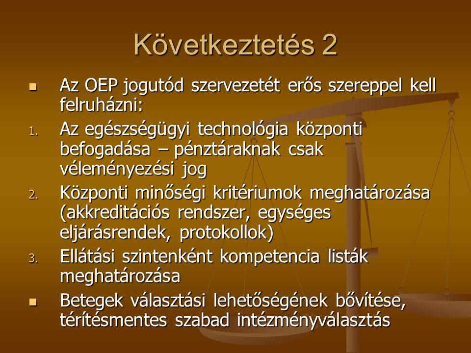 Következtetés 2 Az OEP jogutód szervezetét erős szereppel kell felruházni: Az OEP jogutód szervezetét erős szereppel kell felruházni: 1.