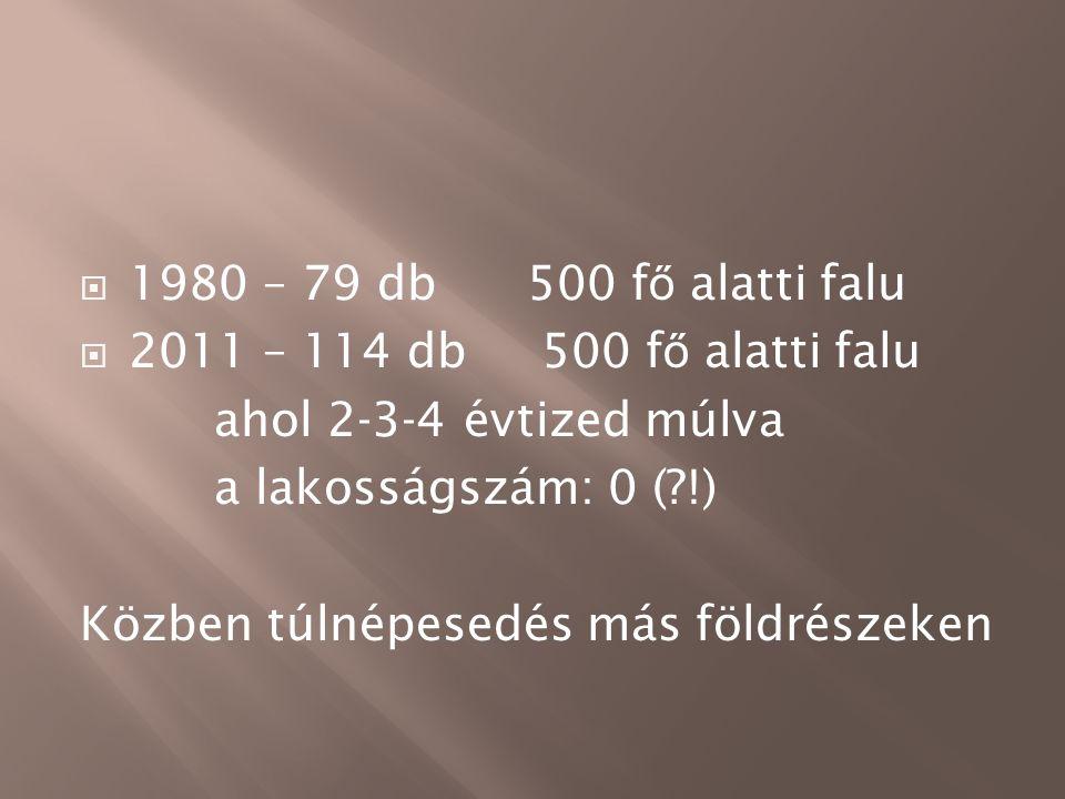  1980 – 79 db 500 f ő alatti falu  2011 – 114 db 500 f ő alatti falu ahol 2-3-4 évtized múlva a lakosságszám: 0 (?!) Közben túlnépesedés más földrés