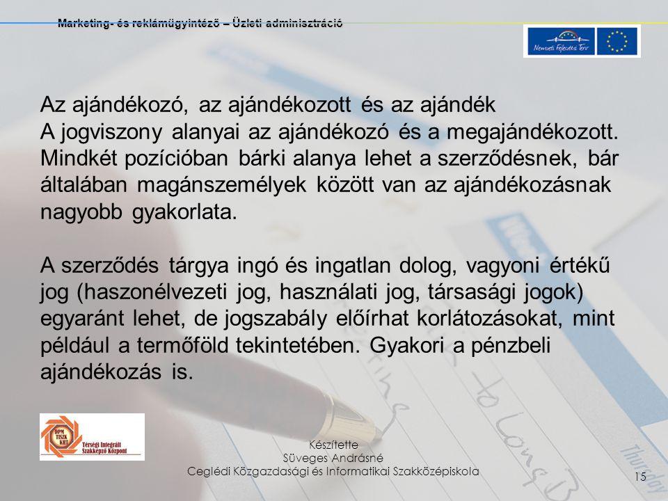 Marketing- és reklámügyintéző – Üzleti adminisztráció Készítette Süveges Andrásné Ceglédi Közgazdasági és Informatikai Szakközépiskola 15 Az ajándékoz