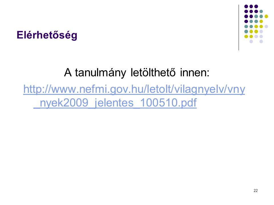 22 Elérhetőség A tanulmány letölthető innen: http://www.nefmi.gov.hu/letolt/vilagnyelv/vny _nyek2009_jelentes_100510.pdf