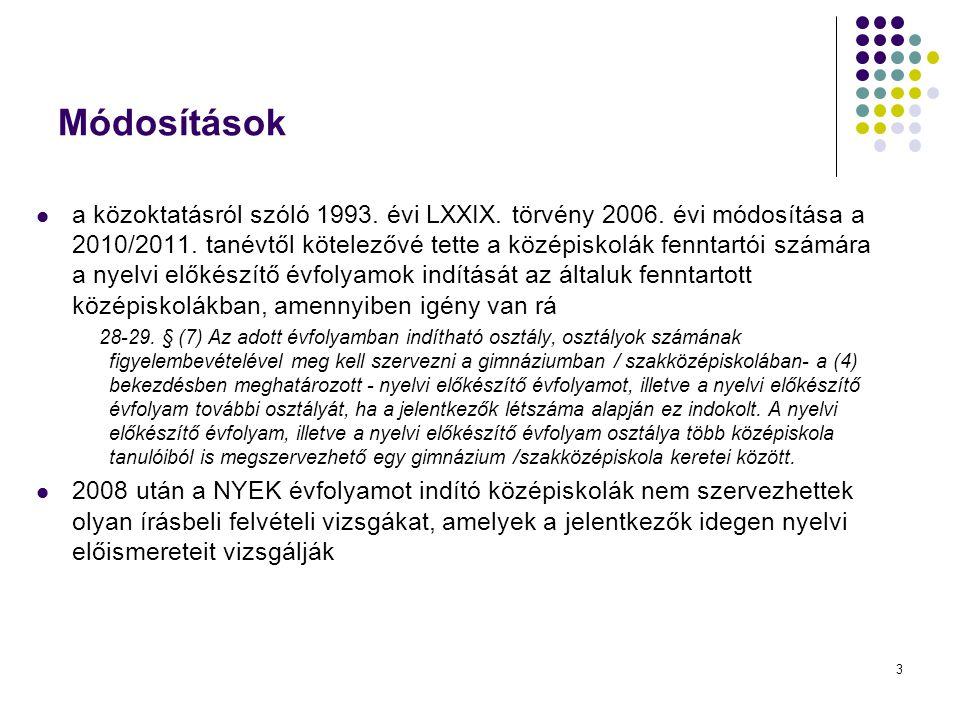 3 Módosítások a közoktatásról szóló 1993. évi LXXIX. törvény 2006. évi módosítása a 2010/2011. tanévtől kötelezővé tette a középiskolák fenntartói szá