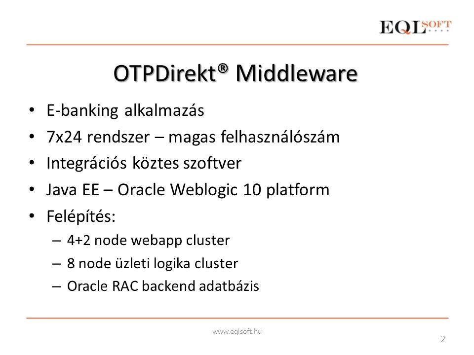OTPDirekt ® M iddleware E-banking alkalmazás 7x24 rendszer – magas felhasználószám Integrációs köztes szoftver Java EE – Oracle Weblogic 10 platform F