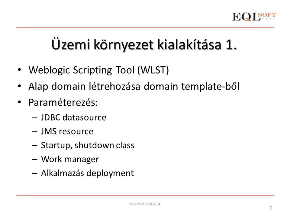 Üzemi környezet kialakítása 1. Weblogic Scripting Tool (WLST) Alap domain létrehozása domain template-ből Paraméterezés: – JDBC datasource – JMS resou