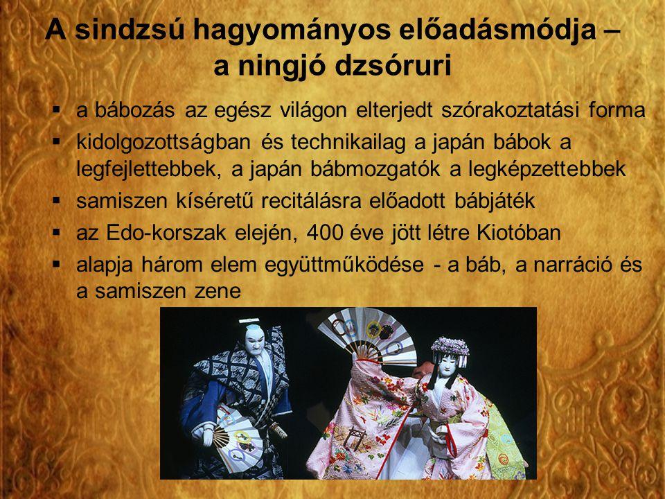 A sindzsú hagyományos előadásmódja – a ningjó dzsóruri  a bábozás az egész világon elterjedt szórakoztatási forma  kidolgozottságban és technikailag