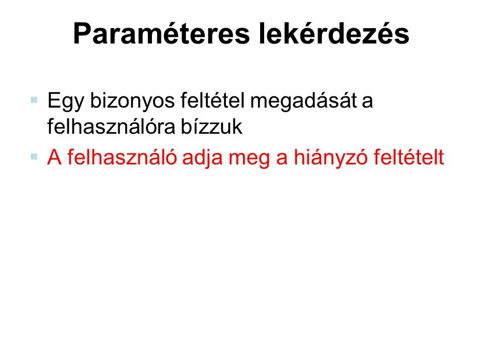 Paraméteres lekérdezés  Egy bizonyos feltétel megadását a felhasználóra bízzuk  A felhasználó adja meg a hiányzó feltételt