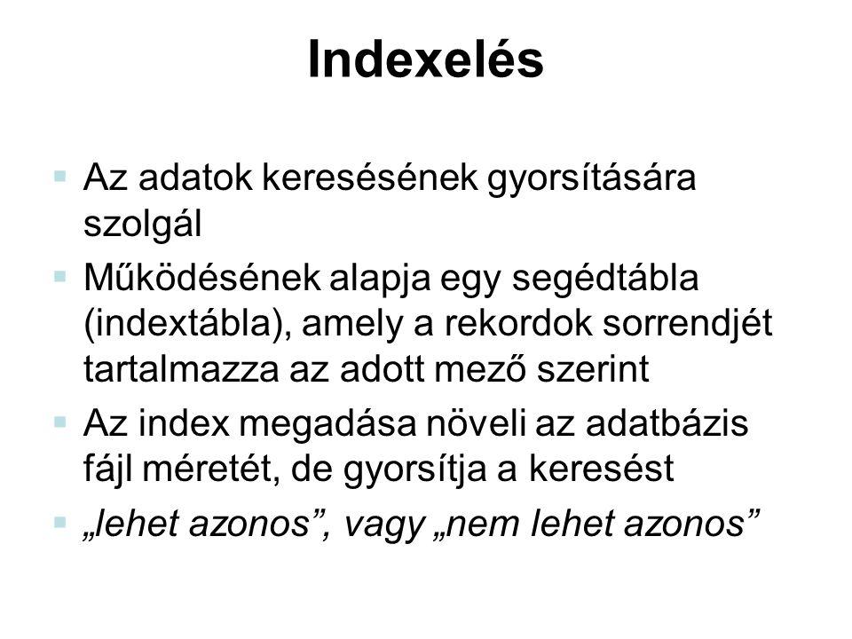 Indexelés  Az adatok keresésének gyorsítására szolgál  Működésének alapja egy segédtábla (indextábla), amely a rekordok sorrendjét tartalmazza az ad