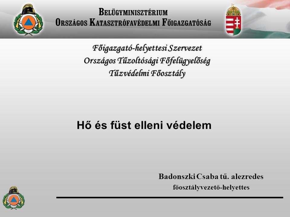 Hő és füst elleni védelem Badonszki Csaba tű. alezredes főosztályvezető-helyettes Főigazgató-helyettesi Szervezet Országos Tűzoltósági Főfelügyelőség