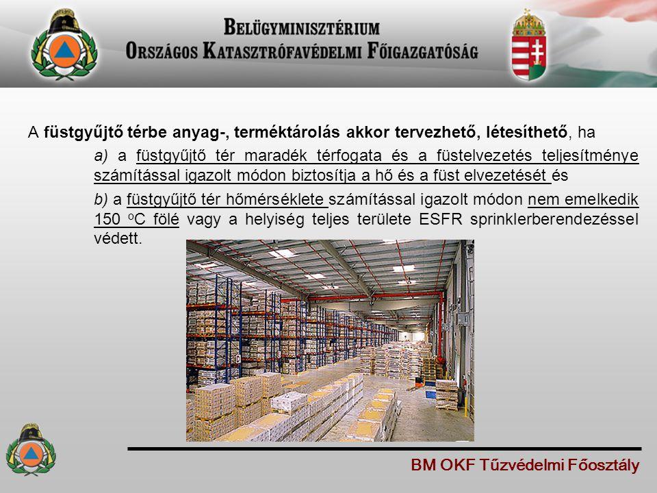 A füstgyűjtő térbe anyag-, terméktárolás akkor tervezhető, létesíthető, ha a) a füstgyűjtő tér maradék térfogata és a füstelvezetés teljesítménye szám