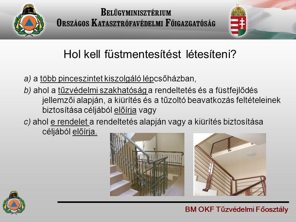 Hol kell füstmentesítést létesíteni? a) a több pinceszintet kiszolgáló lépcsőházban, b) ahol a tűzvédelmi szakhatóság a rendeltetés és a füstfejlődés
