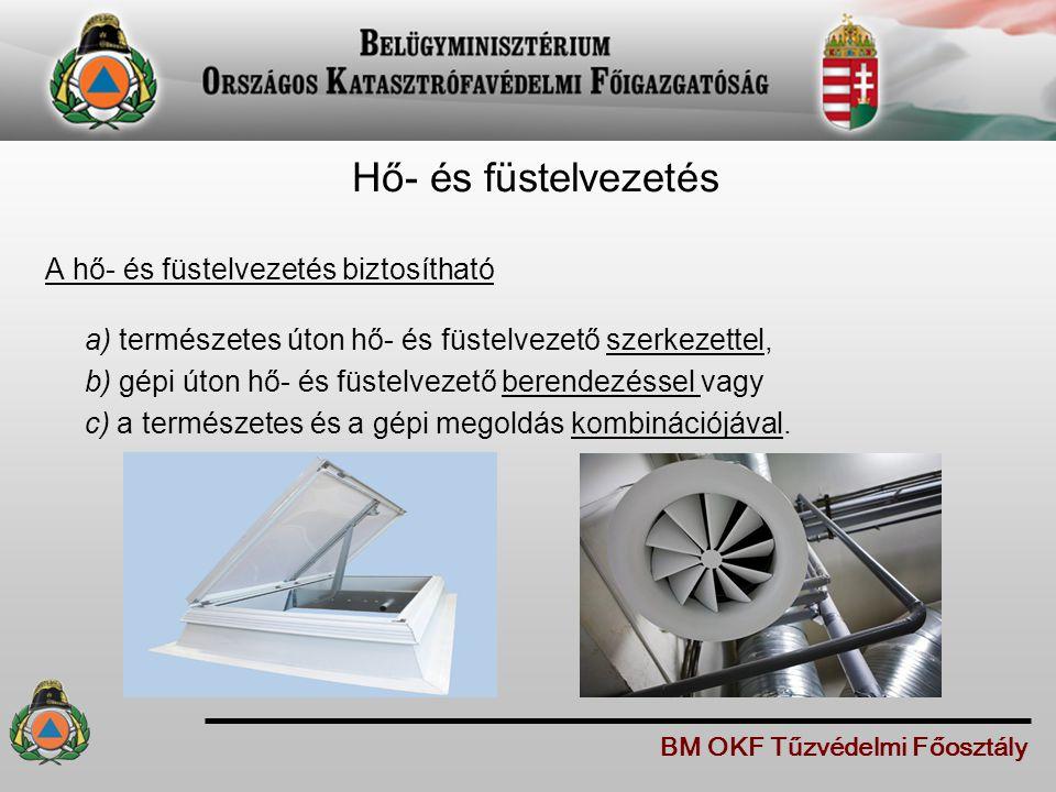 Hő- és füstelvezetés A hő- és füstelvezetés biztosítható a) természetes úton hő- és füstelvezető szerkezettel, b) gépi úton hő- és füstelvezető berend
