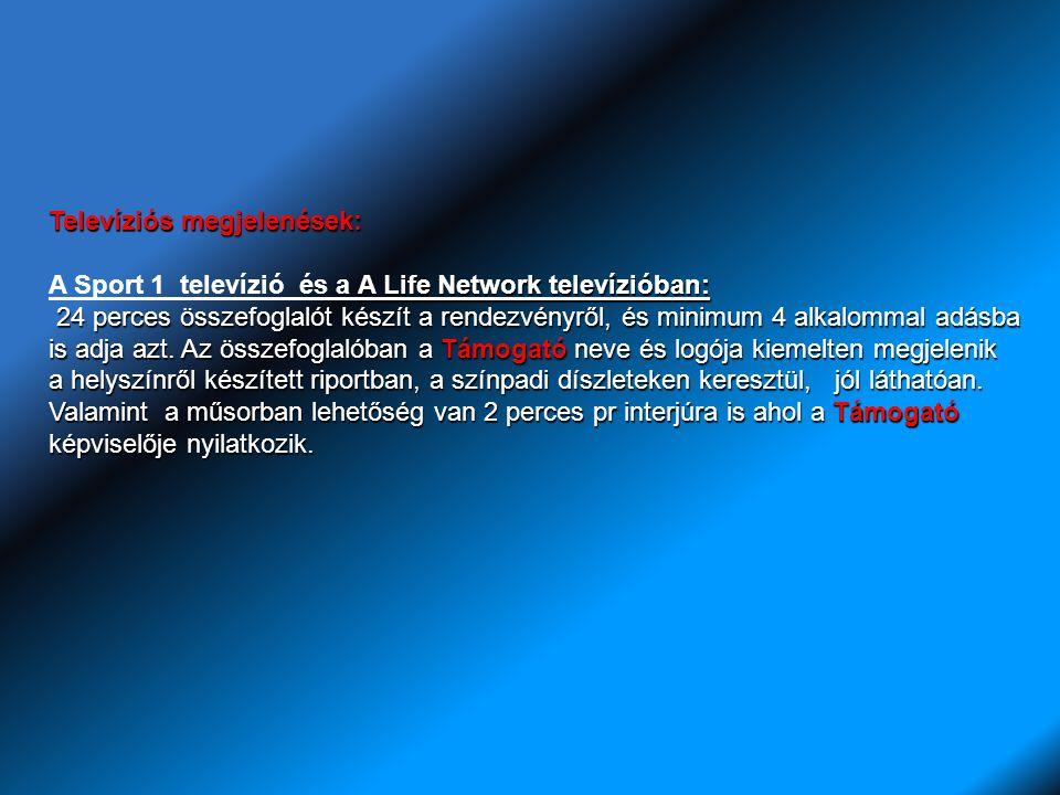 Televíziós megjelenések: A Life Network televízióban: A Sport 1 televízió és a A Life Network televízióban: 24 perces összefoglalót készít a rendezvényről, és minimum 4 alkalommal adásba is adja azt.