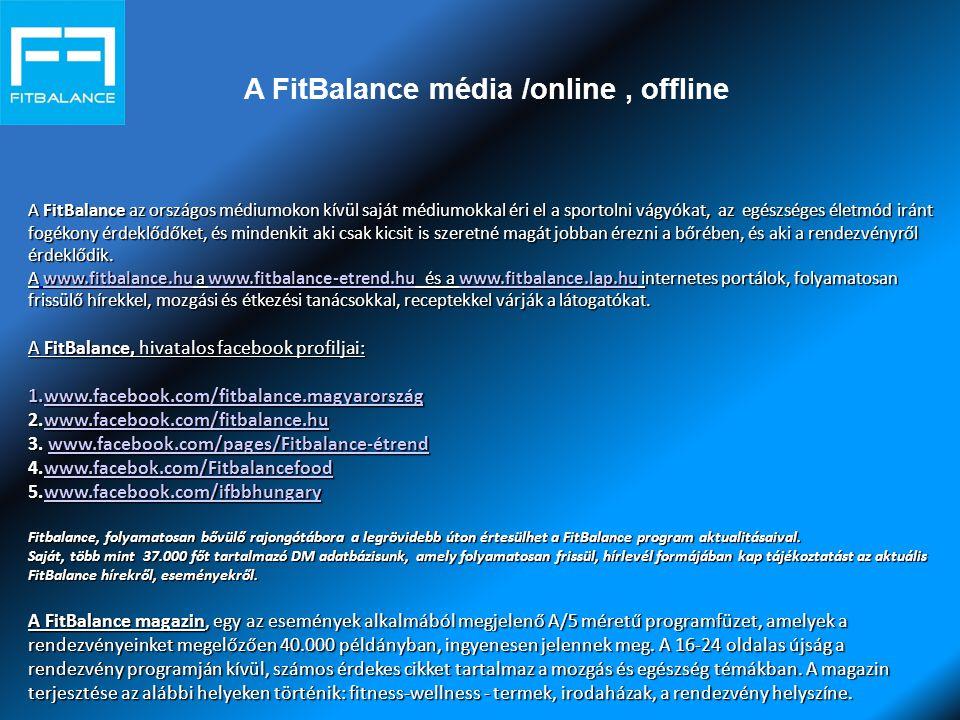 A FitBalance média /online, offline A FitBalance az országos médiumokon kívül saját médiumokkal éri el a sportolni vágyókat, az egészséges életmód iránt fogékony érdeklődőket, és mindenkit aki csak kicsit is szeretné magát jobban érezni a bőrében, és aki a rendezvényről érdeklődik.