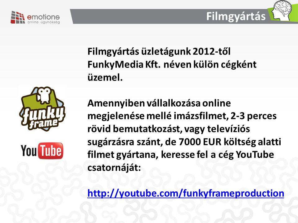Filmgyártás üzletágunk 2012-től FunkyMedia Kft. néven külön cégként üzemel. Amennyiben vállalkozása online megjelenése mellé imázsfilmet, 2-3 perces r