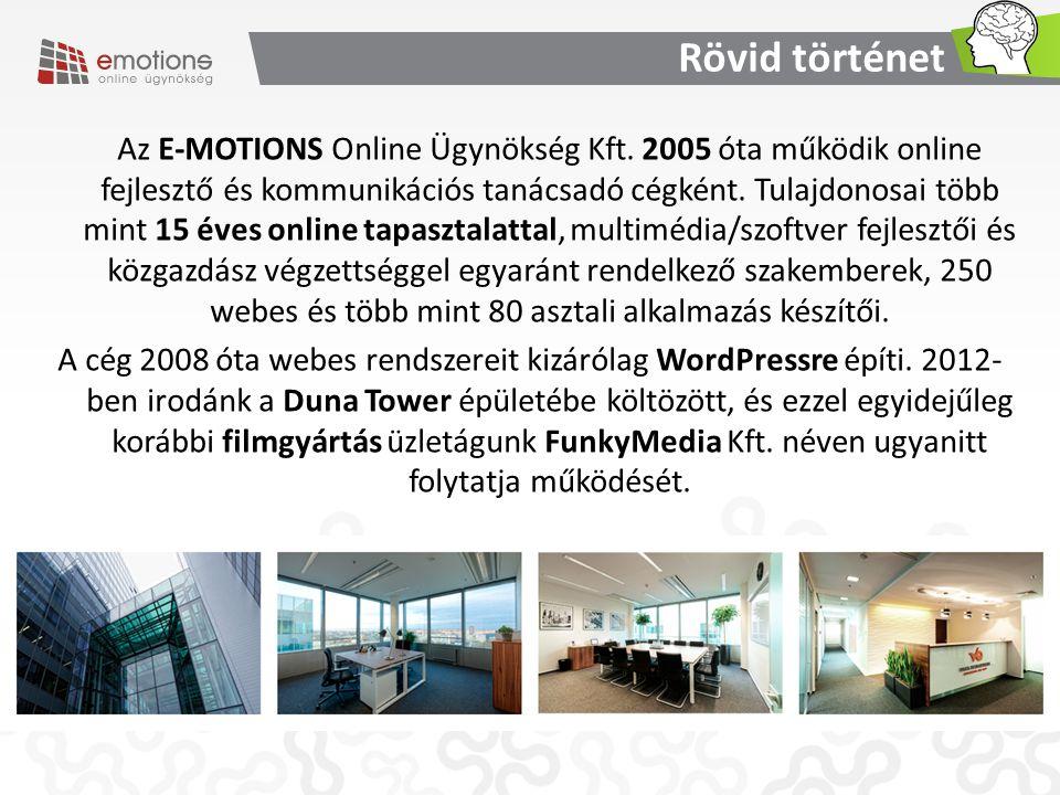 Rövid történet Az E-MOTIONS Online Ügynökség Kft. 2005 óta működik online fejlesztő és kommunikációs tanácsadó cégként. Tulajdonosai több mint 15 éves