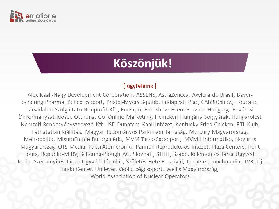 [ ügyfeleink ] Alex Kaali-Nagy Development Corporation, ASSENS, AstraZeneca, Axelera do Brasil, Bayer- Schering Pharma, Beflex csoport, Bristol-Myers