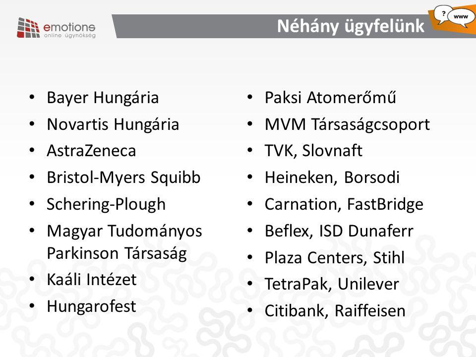 Néhány ügyfelünk Bayer Hungária Novartis Hungária AstraZeneca Bristol-Myers Squibb Schering-Plough Magyar Tudományos Parkinson Társaság Kaáli Intézet Hungarofest Paksi Atomerőmű MVM Társaságcsoport TVK, Slovnaft Heineken, Borsodi Carnation, FastBridge Beflex, ISD Dunaferr Plaza Centers, Stihl TetraPak, Unilever Citibank, Raiffeisen