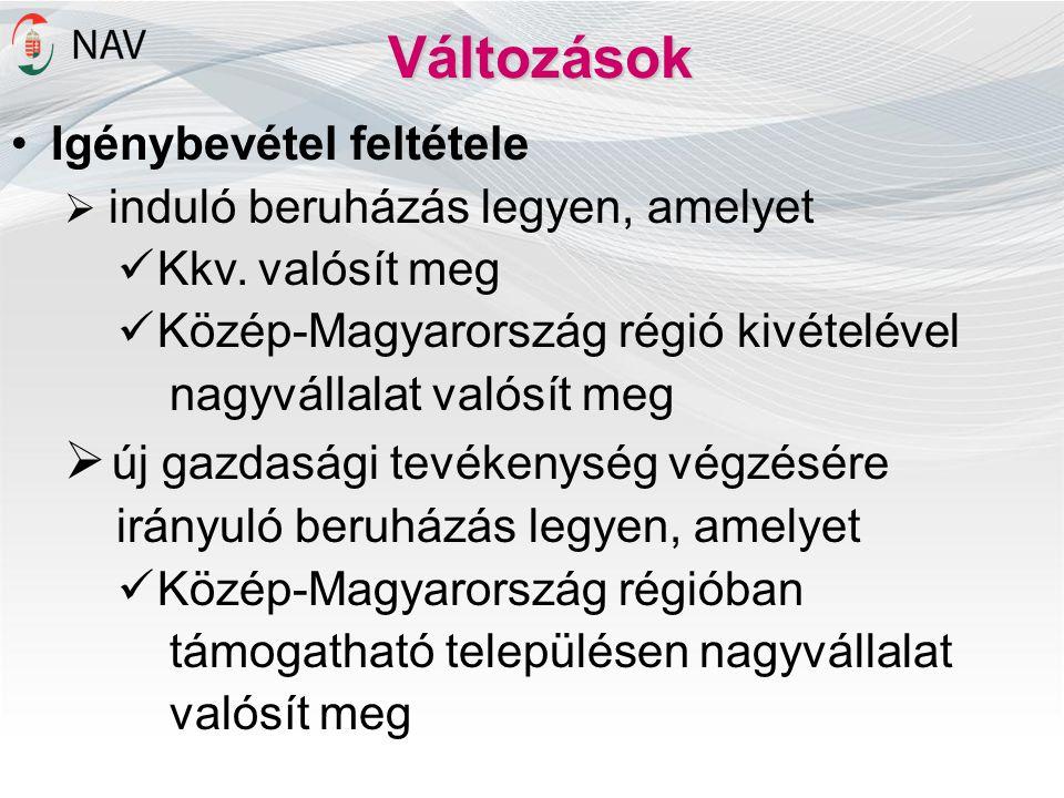 Változások Igénybevétel feltétele  induló beruházás legyen, amelyet Kkv. valósít meg Közép-Magyarország régió kivételével nagyvállalat valósít meg 