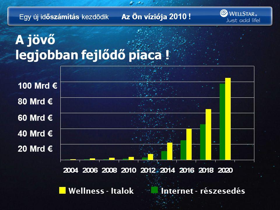 A jövő legjobban fejlődő piaca ! 20 Mrd € 40 Mrd € 60 Mrd € 80 Mrd € 100 Mrd € Wellness - Italok Internet - részesedés Egy új időszámítás kezdődik Az