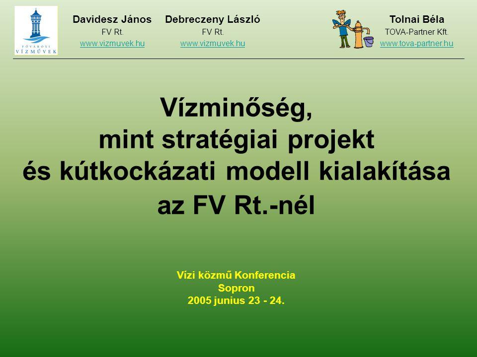 Vízminőség, mint stratégiai projekt és kútkockázati modell kialakítása az FV Rt.-nél Vízi közmű Konferencia Sopron 2005 junius 23 - 24.