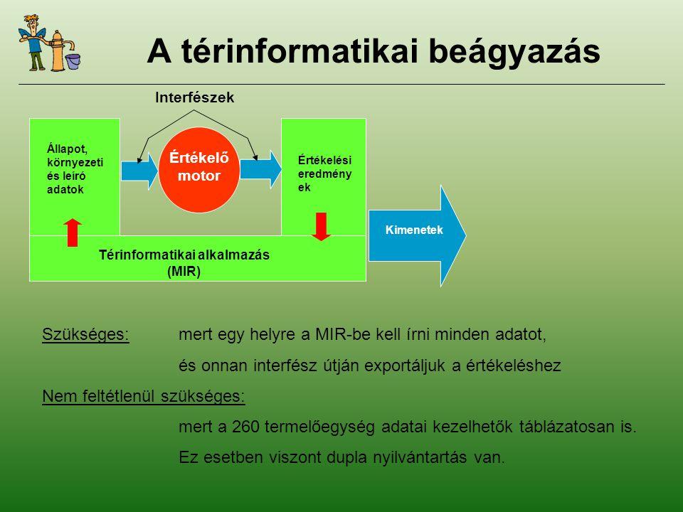 A térinformatikai beágyazás Értékelő motor Interfészek Állapot, környezeti és leíró adatok Térinformatikai alkalmazás (MIR) Értékelési eredmény ek Kimenetek Szükséges:mert egy helyre a MIR-be kell írni minden adatot, és onnan interfész útján exportáljuk a értékeléshez Nem feltétlenül szükséges: mert a 260 termelőegység adatai kezelhetők táblázatosan is.