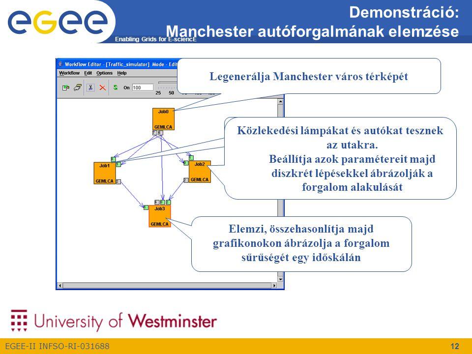 Enabling Grids for E-sciencE EGEE-II INFSO-RI-031688 12 Demonstráció: Manchester autóforgalmának elemzése Legenerálja Manchester város térképét Közlekedési lámpákat és autókat tesznek az utakra.