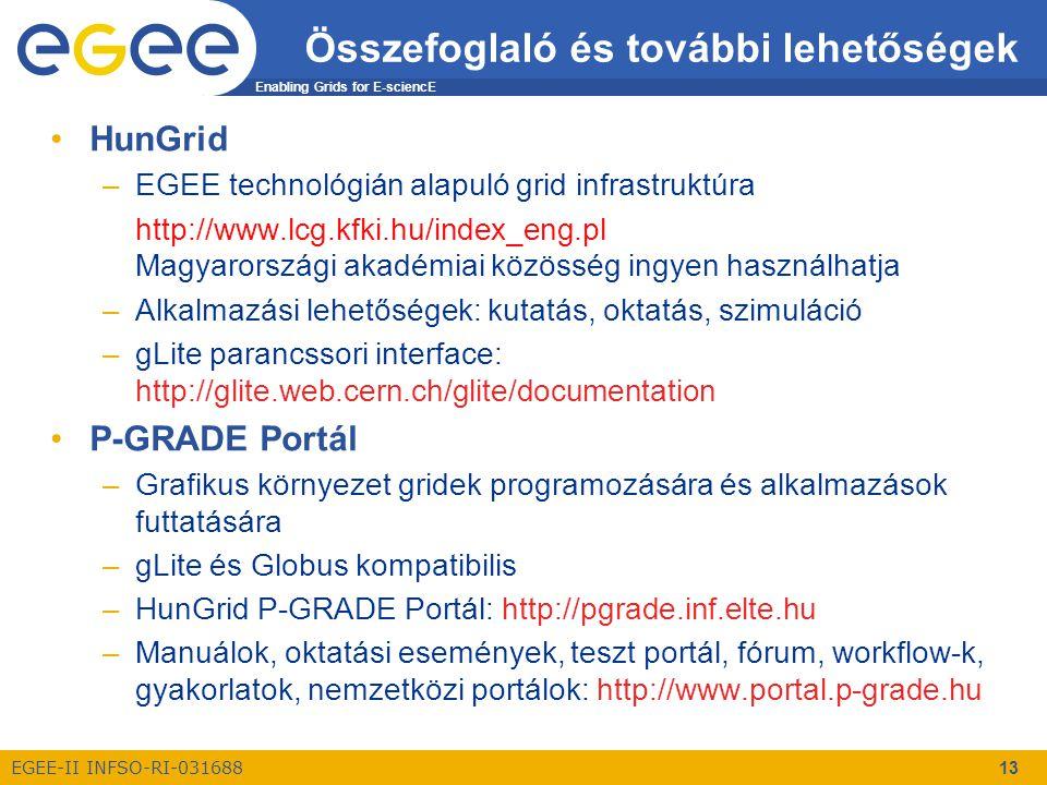 Enabling Grids for E-sciencE EGEE-II INFSO-RI-031688 13 Összefoglaló és további lehetőségek HunGrid –EGEE technológián alapuló grid infrastruktúra http://www.lcg.kfki.hu/index_eng.pl Magyarországi akadémiai közösség ingyen használhatja –Alkalmazási lehetőségek: kutatás, oktatás, szimuláció –gLite parancssori interface: http://glite.web.cern.ch/glite/documentation P-GRADE Portál –Grafikus környezet gridek programozására és alkalmazások futtatására –gLite és Globus kompatibilis –HunGrid P-GRADE Portál: http://pgrade.inf.elte.hu –Manuálok, oktatási események, teszt portál, fórum, workflow-k, gyakorlatok, nemzetközi portálok: http://www.portal.p-grade.hu