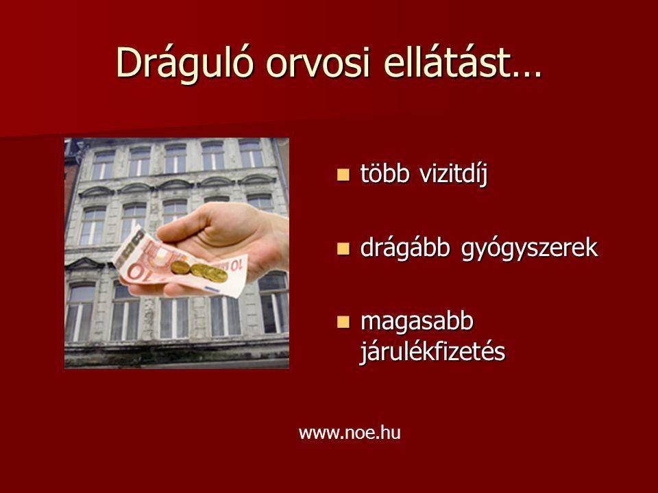 Dráguló orvosi ellátást… több vizitdíj több vizitdíj drágább gyógyszerek drágább gyógyszerek magasabb járulékfizetés magasabb járulékfizetés www.noe.hu