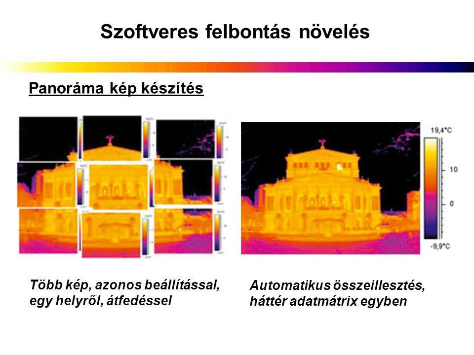 Szoftveres felbontás növelés Panoráma kép készítés Több kép, azonos beállítással, egy helyről, átfedéssel Automatikus összeillesztés, háttér adatmátri