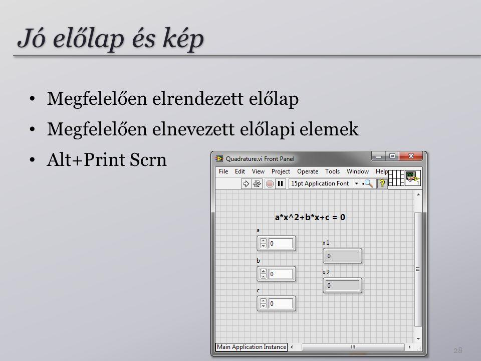 Jó előlap és kép 28 Megfelelően elrendezett előlap Megfelelően elnevezett előlapi elemek Alt+Print Scrn