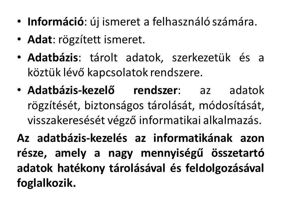 Információ: új ismeret a felhasználó számára. Adat: rögzített ismeret. Adatbázis: tárolt adatok, szerkezetük és a köztük lévő kapcsolatok rendszere. A