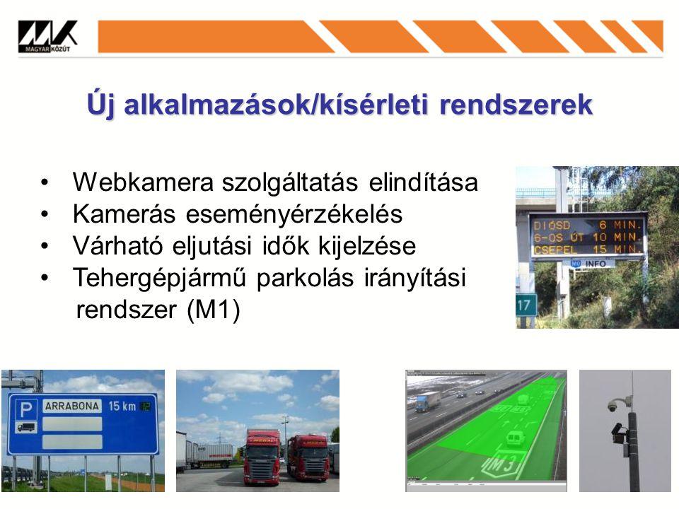 Új alkalmazások/kísérleti rendszerek Webkamera szolgáltatás elindítása Kamerás eseményérzékelés Várható eljutási idők kijelzése Tehergépjármű parkolás irányítási rendszer (M1)