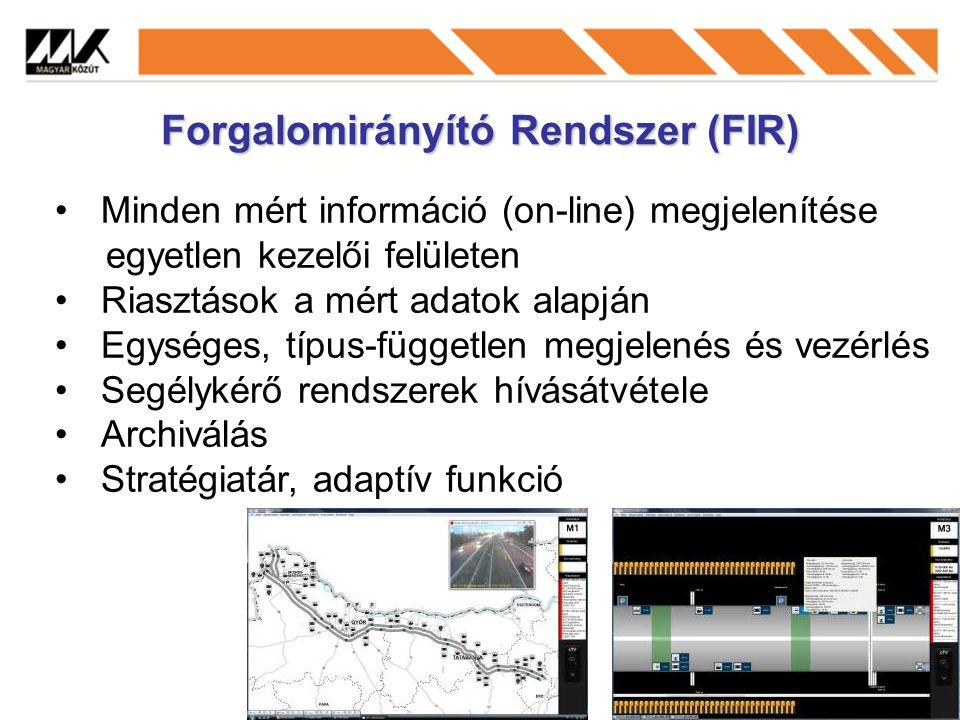 Forgalomirányító Rendszer (FIR) Minden mért információ (on-line) megjelenítése egyetlen kezelői felületen Riasztások a mért adatok alapján Egységes, típus-független megjelenés és vezérlés Segélykérő rendszerek hívásátvétele Archiválás Stratégiatár, adaptív funkció