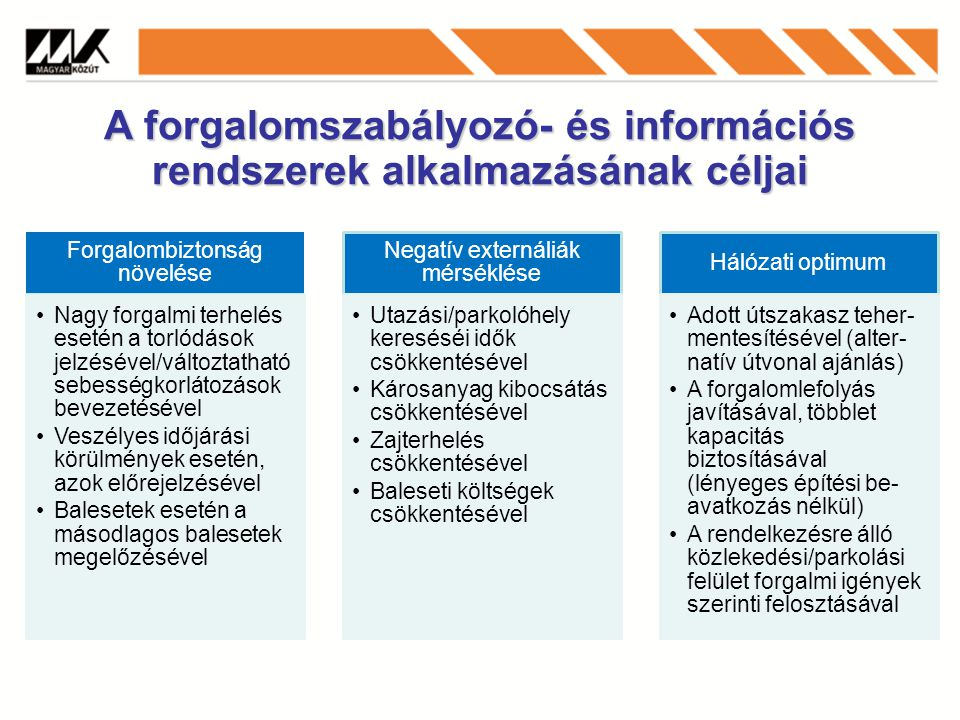 A forgalomirányító és információs központok szerepe Új utak, csomópontok építésével, átadásával kapcsolatos információk.