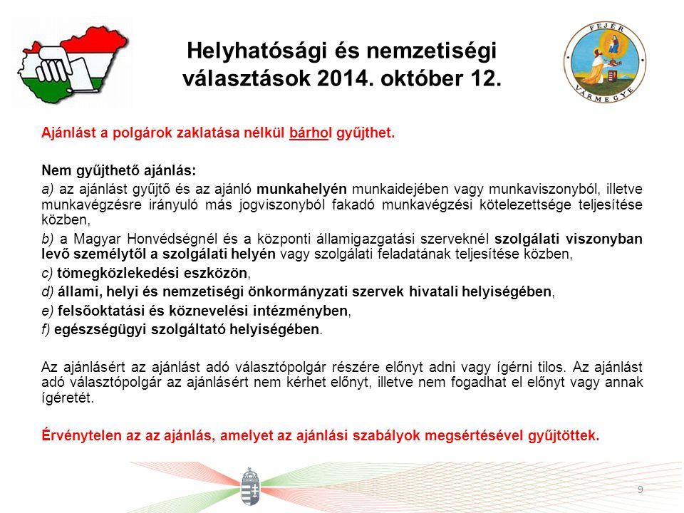 Helyhatósági és nemzetiségi választások 2014. október 12.