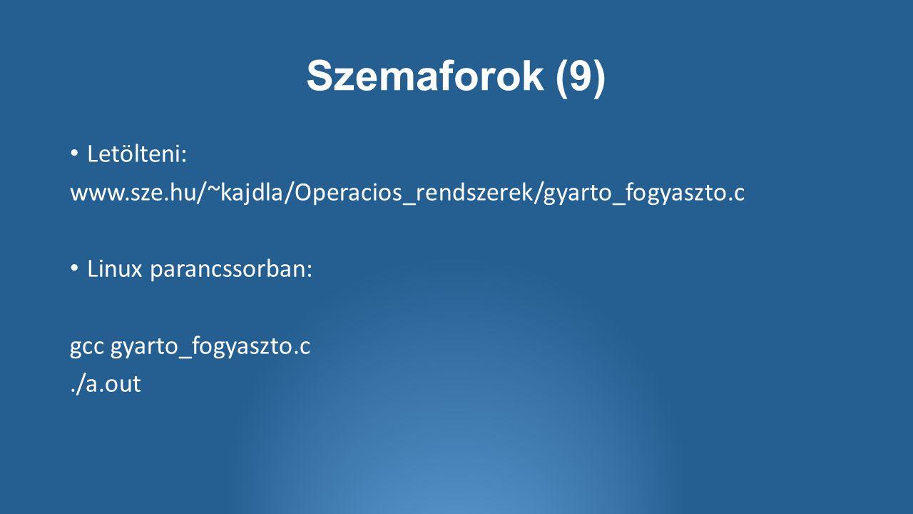 Szemaforok (9) Letölteni: www.sze.hu/~kajdla/Operacios_rendszerek/gyarto_fogyaszto.c Linux parancssorban: gcc gyarto_fogyaszto.c./a.out
