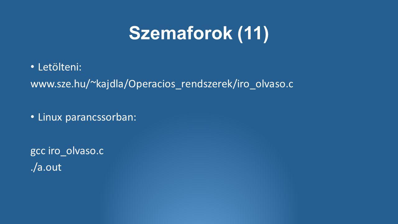 Szemaforok (11) Letölteni: www.sze.hu/~kajdla/Operacios_rendszerek/iro_olvaso.c Linux parancssorban: gcc iro_olvaso.c./a.out