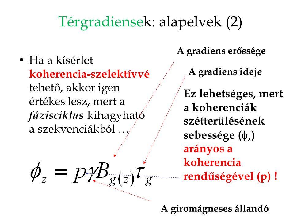 Térgradiensek: alapelvek (2) Ha a kísérlet koherencia-szelektívvé tehető, akkor igen értékes lesz, mert a fázisciklus kihagyható a szekvenciákból … Ez