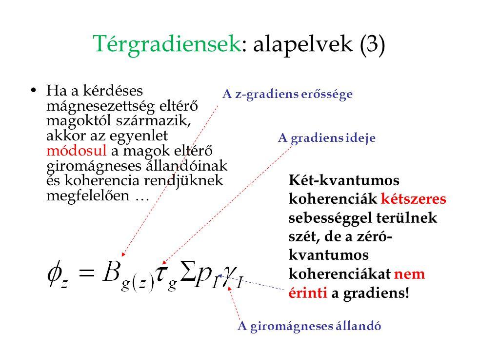 Térgradiensek: alapelvek (3) Ha a kérdéses mágnesezettség eltérő magoktól származik, akkor az egyenlet módosul a magok eltérő giromágneses állandóinak