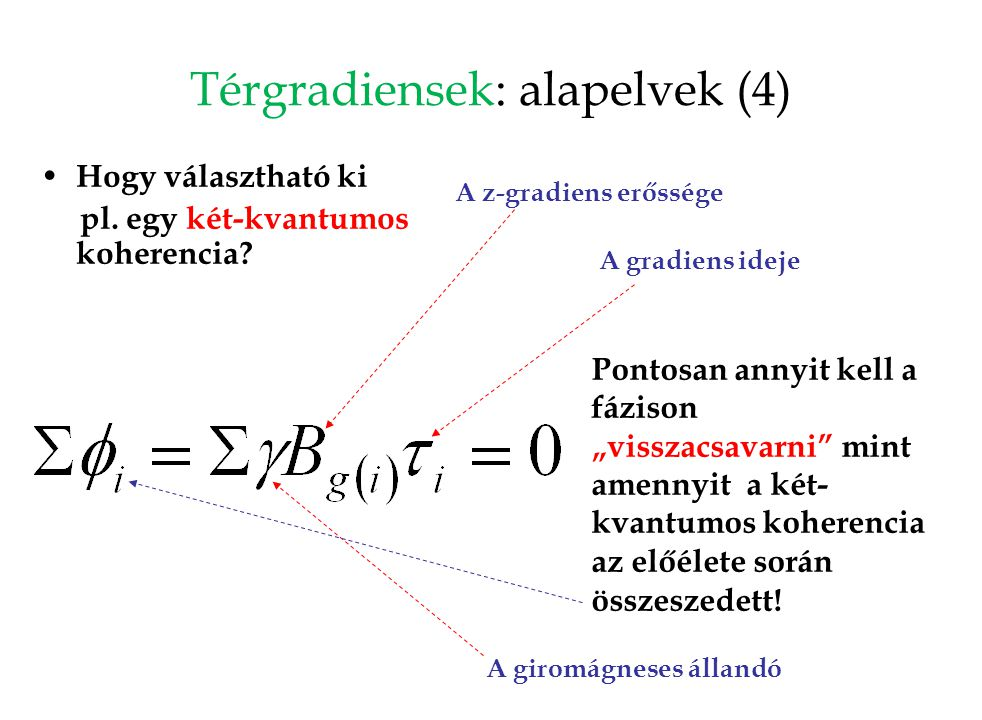 """Térgradiensek: alapelvek (4) Hogy választható ki pl. egy két-kvantumos koherencia? Pontosan annyit kell a fázison """"visszacsavarni"""" mint amennyit a két"""