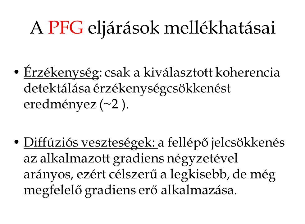 A PFG eljárások mellékhatásai Érzékenység: csak a kiválasztott koherencia detektálása érzékenységcsökkenést eredményez (~2 ). Diffúziós veszteségek: a