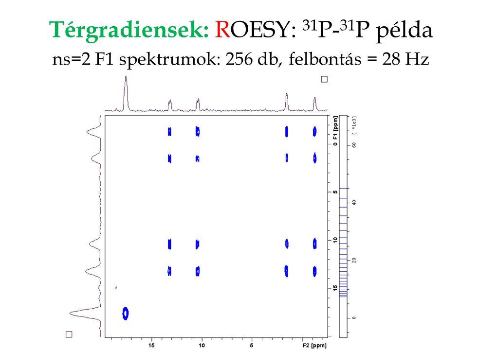 Térgradiensek: ROESY: 31 P- 31 P példa ns=2 F1 spektrumok: 256 db, felbontás = 28 Hz