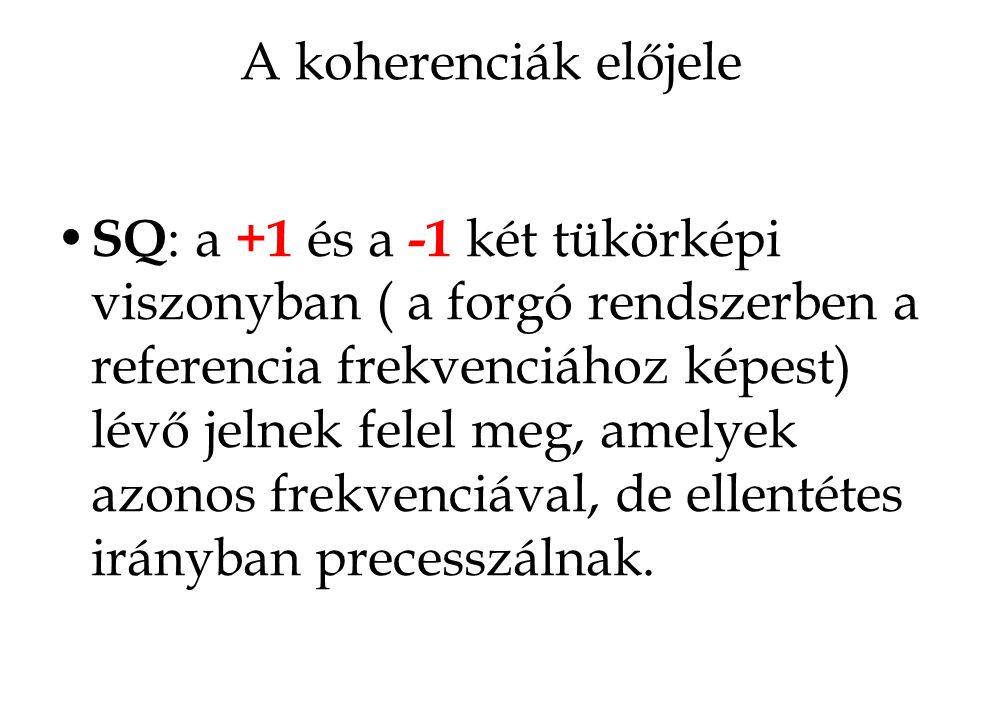 A koherenciák előjele SQ : a +1 és a -1 két tükörképi viszonyban ( a forgó rendszerben a referencia frekvenciához képest) lévő jelnek felel meg, amely