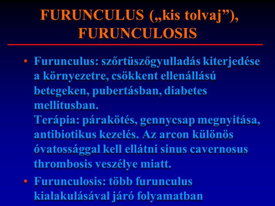 Furunculus: szőrtüszőgyulladás kiterjedése a környezetre, csökkent ellenállású betegeken, pubertásban, diabetes mellitusban. Terápia: párakötés, genny