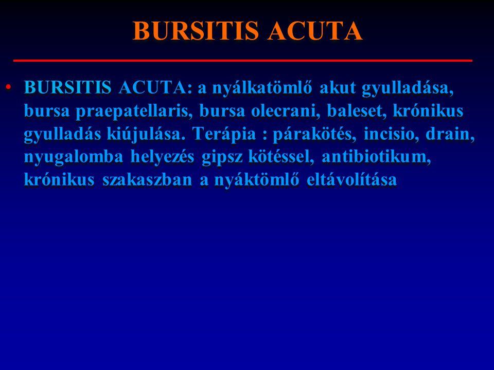 BURSITIS ACUTA: a nyálkatömlő akut gyulladása, bursa praepatellaris, bursa olecrani, baleset, krónikus gyulladás kiújulása. Terápia : párakötés, incis