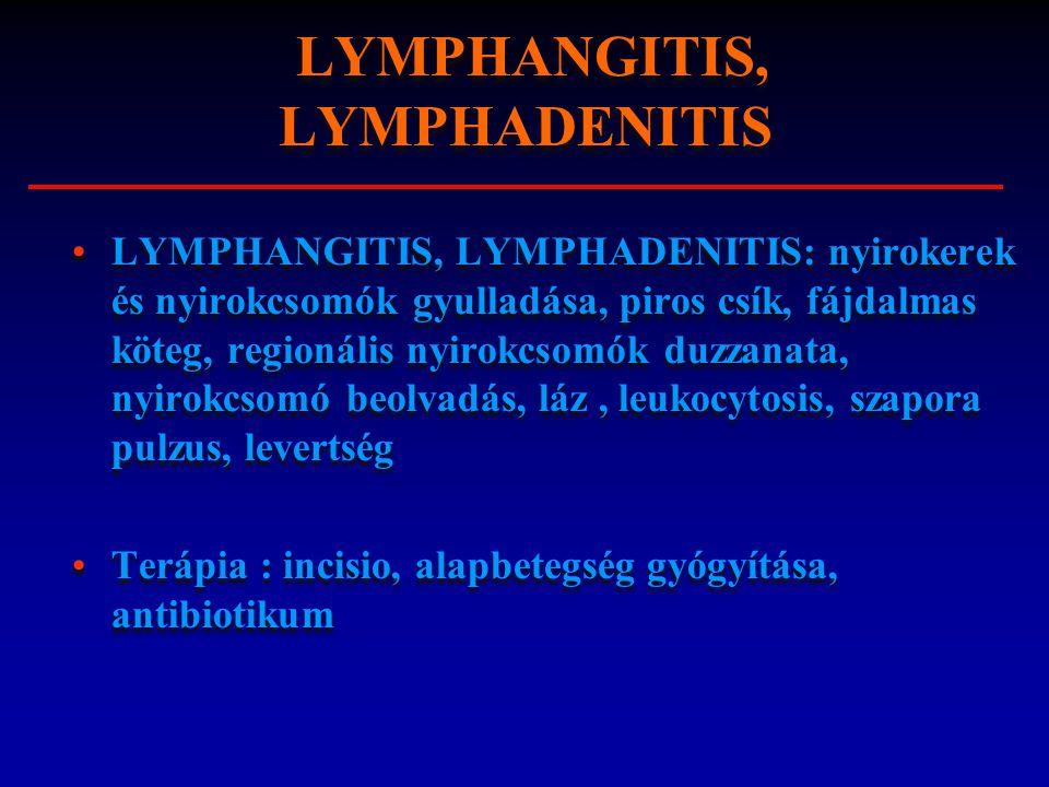 LYMPHANGITIS, LYMPHADENITIS: nyirokerek és nyirokcsomók gyulladása, piros csík, fájdalmas köteg, regionális nyirokcsomók duzzanata, nyirokcsomó beolva