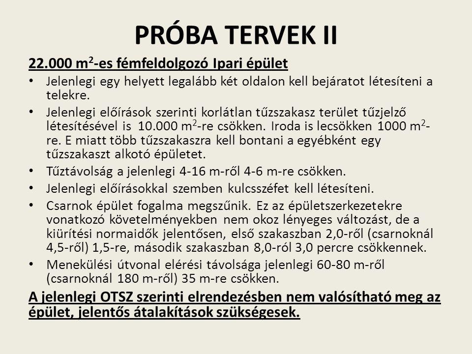 PRÓBA TERVEK II 22.000 m 2 -es fémfeldolgozó Ipari épület Jelenlegi egy helyett legalább két oldalon kell bejáratot létesíteni a telekre. Jelenlegi el