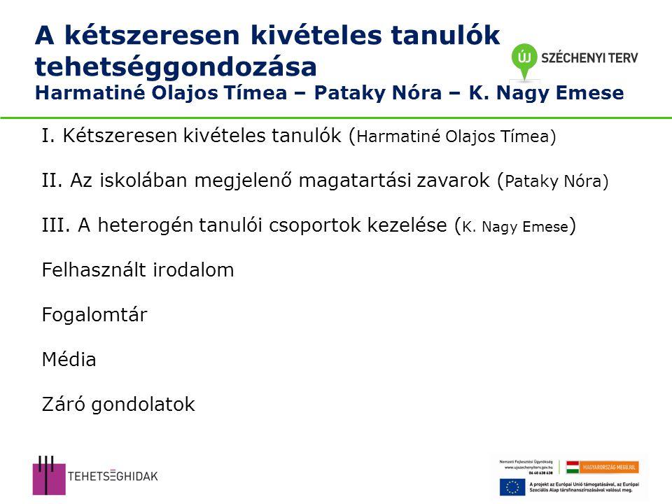 A kétszeresen kivételes tanulók tehetséggondozása Harmatiné Olajos Tímea – Pataky Nóra – K.