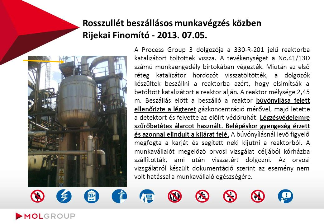 Rosszullét beszállásos munkavégzés közben Rijekai Finomító - 2013. 07.05. A Process Group 3 dolgozója a 330-R-201 jelű reaktorba katalizátort töltötte
