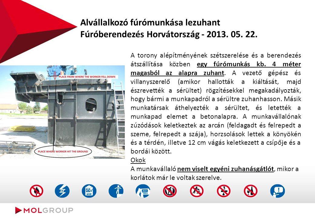 Alvállalkozó fúrómunkása lezuhant Fúróberendezés Horvátország - 2013. 05. 22. A torony alépítményének szétszerelése és a berendezés átszállítása közbe