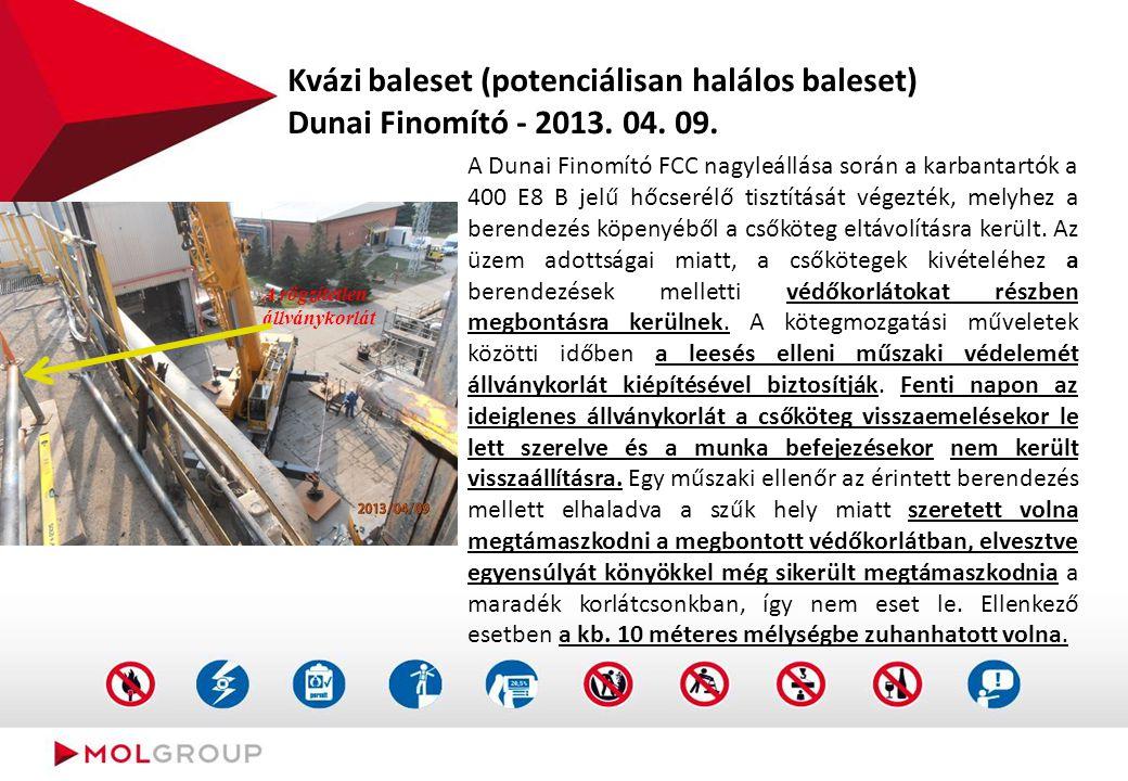 Kvázi baleset (potenciálisan halálos baleset) Dunai Finomító - 2013. 04. 09. A Dunai Finomító FCC nagyleállása során a karbantartók a 400 E8 B jelű hő